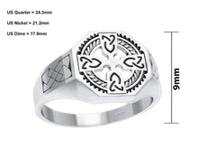 Men's 0.925 Sterling Silver Irish Celtic Cross Ring