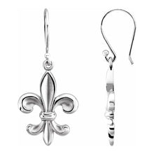 Gold Dangle Earring In White & Fleur-de-lis Design - Side View