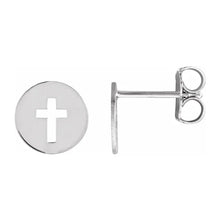 Cross Stud Earrings With Pierced Cross Disc - Side View