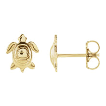 Stud Earrings With Turtle Design In Yellow Gold - Side View