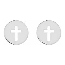 Cross Stud Earrings - Pierced Earrings With Cross Disc