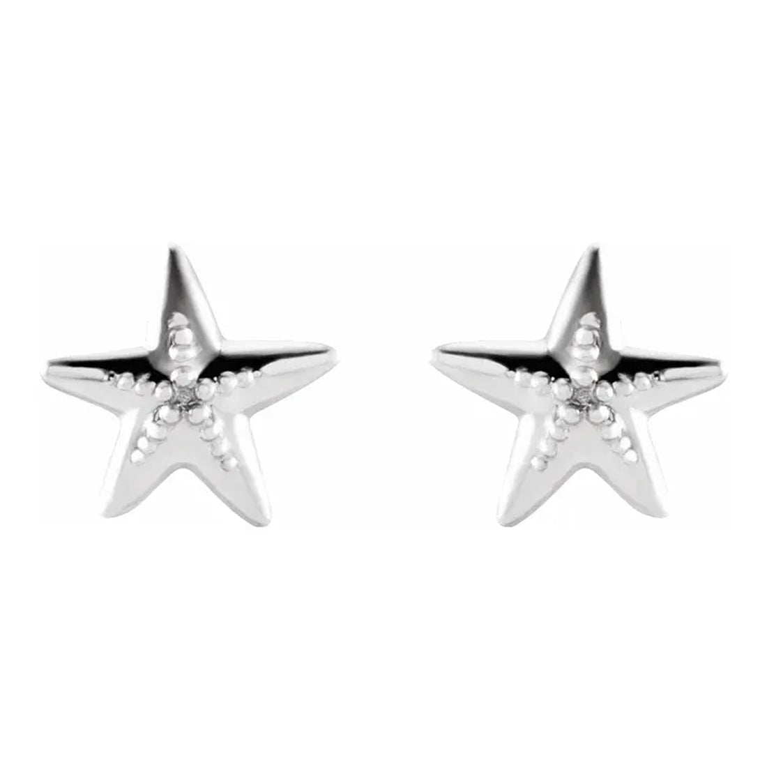 Stud Earrings - Starfish Earrings In 925 Sterling Silver