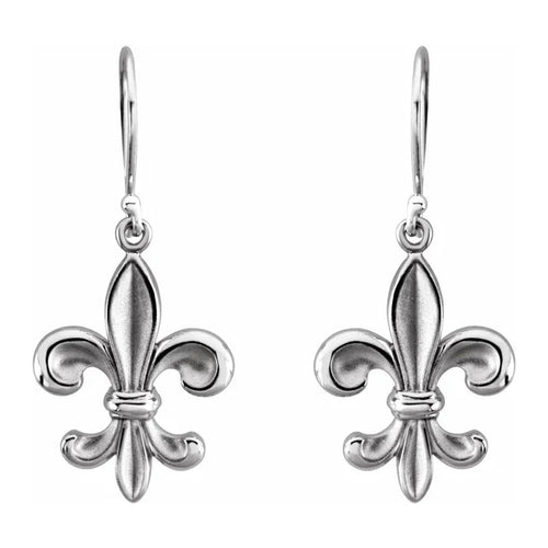Sterling Silver Dangle Earring With Fleur-de-lis Design