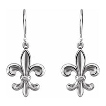 Gold Dangle Earring With Fleur-de-lis Design - White Gold