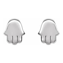 Gold Stud Earrings With Hamsa Fetish - White Gold