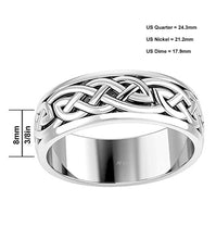 8mm Men's Sterling Silver Irish Knot Wedding Spinner Band