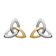 Stud Earrings Two Tone Celtic Inspired Trinity For Ladies