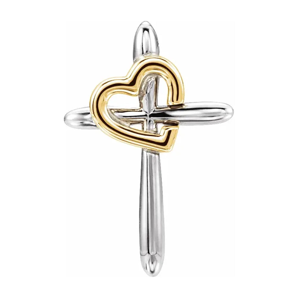 Cross With Heart Pendant - Two Tone Pendant For Ladies