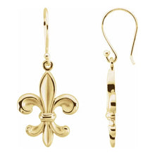 Gold Dangle Earring With Fleur-de-lis Design - Side View