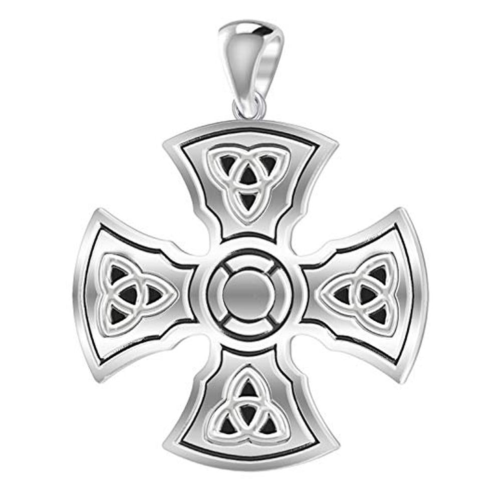 Celtic Cross Necklace With Knight Templar - Front View