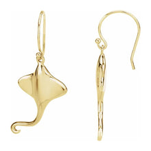 Gold Earrings With French Wire Closure - Side View