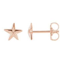 Stud Earrings With Starfish Design In Rose Gold - Side View
