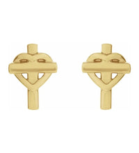 Gold Stud Earrings - Cross Earrings With Heart Design