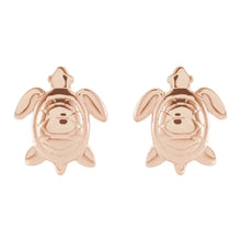Stud Earrings With Turtle Design In Rose Gold