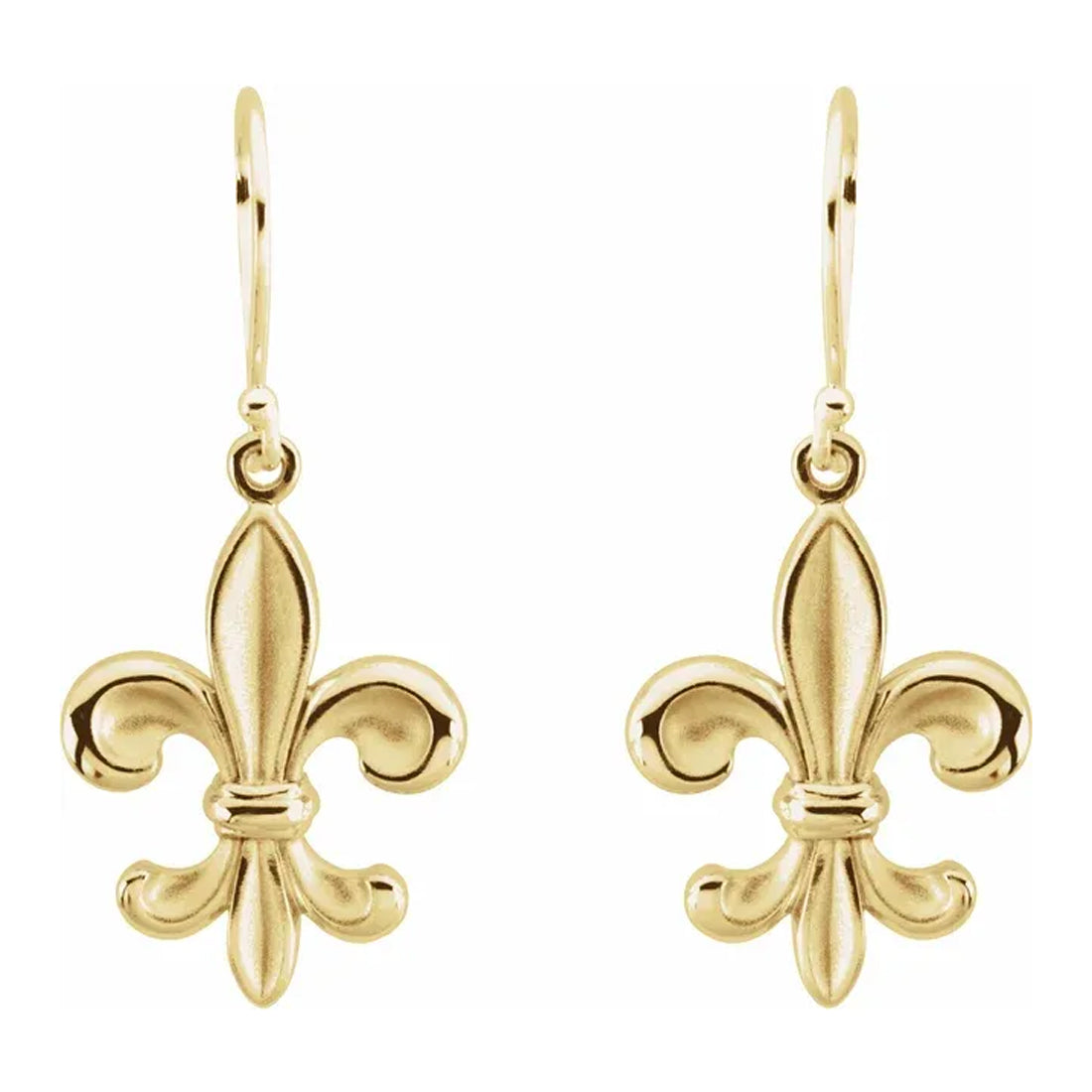 Gold Dangle Earring - Fleur-de-lis Earring For Ladies