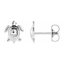 Stud Earrings With Turtle Design In White Gold - Side View