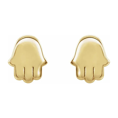 Gold Stud Earrings - Hamsa Earrings With Friction Closure