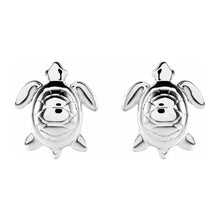 Stud Earrings With Turtle Design In White Gold