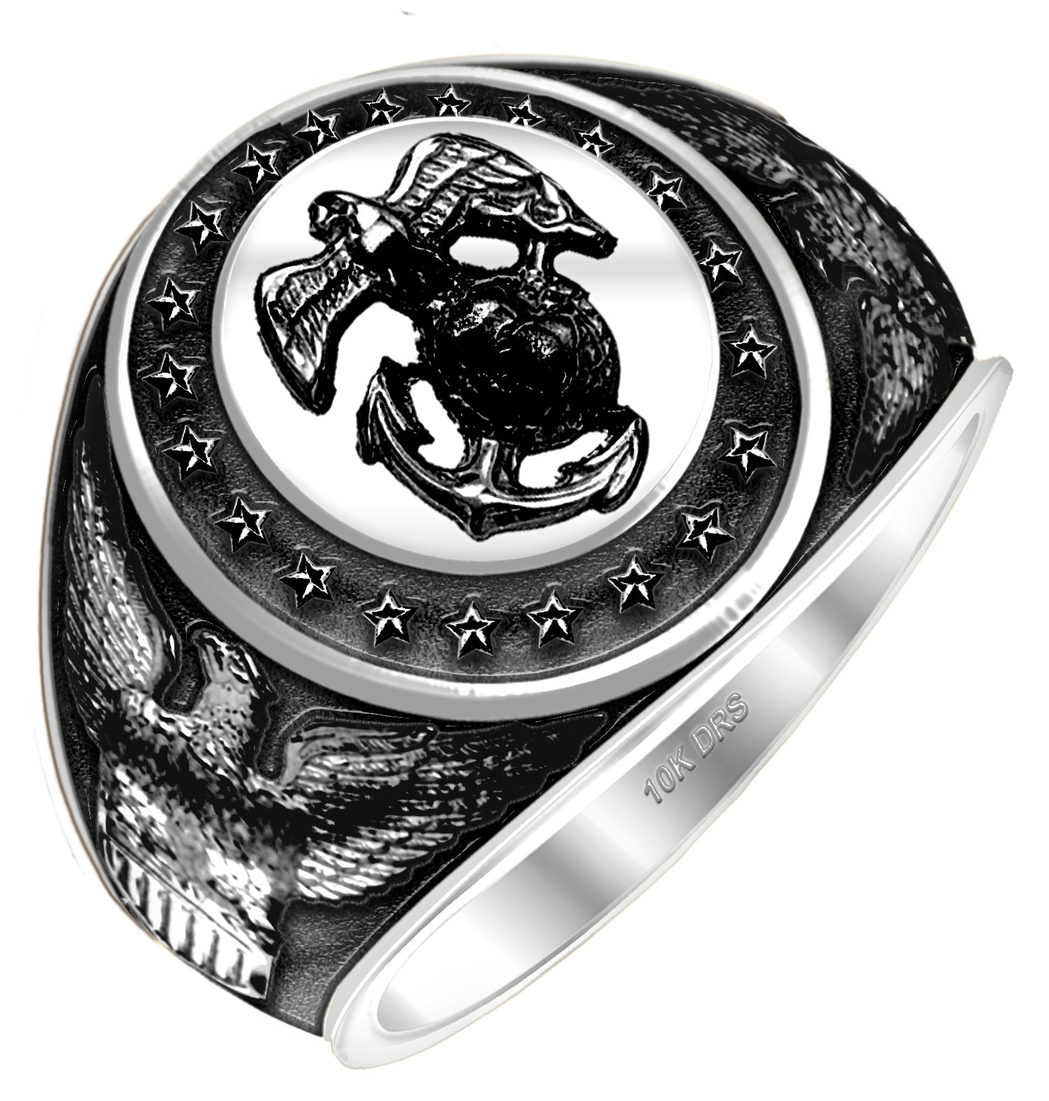 Men's Antiqued White Gold US Marine Corps Ring - US Jewels