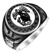 US Jewels Antiqued White Gold Marine Corps Military Ring