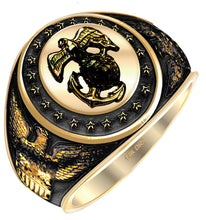 US Jewels Antiqued Yellow Gold US Marine Corps Ring