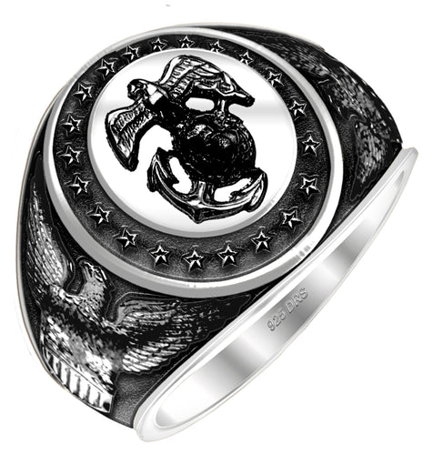 Men's Antiqued 0.925 Sterling Silver or Vermeil US Marine Corps Military Solid Back Ring - US Jewels
