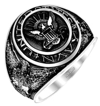 Men's Antiqued 0.925 Sterling Silver US Navy Ring - US Jewels