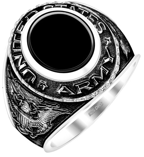 Men's Antiqued 0.925 Silver US Army Ring - Black Stone
