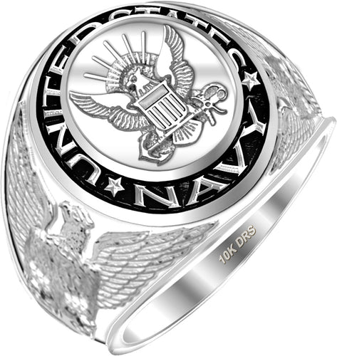 US Navy Military Ring For Men's in White Gold  - US Jewels