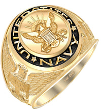 Men's 14k or 10k Yellow or White Gold US Navy Military Ring