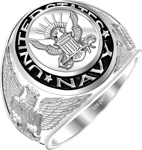 Men's 0.925 Sterling Silver US Navy Military Ring - US Jewels