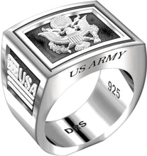 Men's Heavy 0.925 Sterling Silver US Army Ring Band