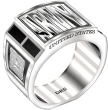 US Army Ring 0.925 Sterling Silver with Black Onyx for Men