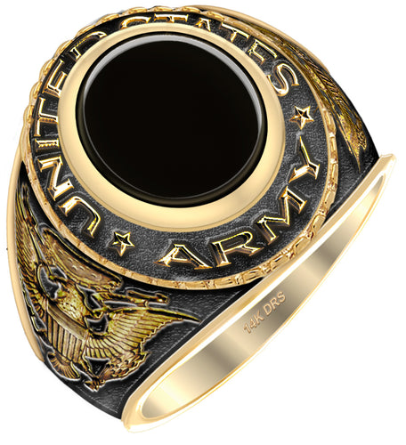 Antiqued 14k Yellow Gold US Army Military Solid Back Ring