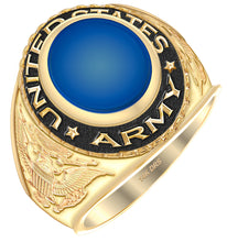 Men's Yellow Gold US Army Ring - Oval Shape blue stone