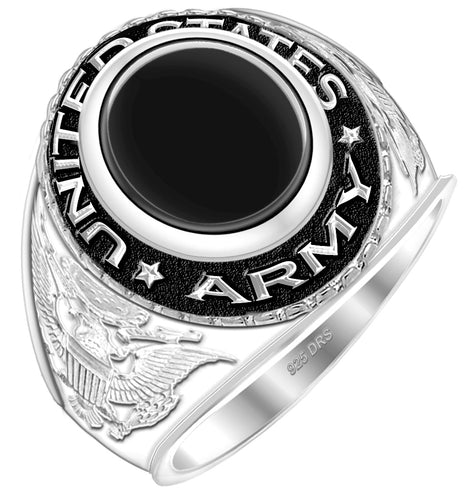 Customizable Men's 0.925 Sterling Silver US Army Ring