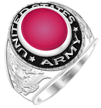 Men's 0.925 Sterling Silver US Army Military Ring - Red stone