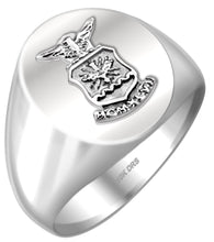 US Air Force Ring Solid Back in 10k or 14k White Gold