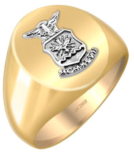US Air Force Solid Back Ring in Two Tone Yellow White Gold