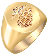 US Marine Corps Solid Back Ring in 10k or 14k Yellow Gold