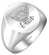 US Navy Solid Back Ring in 14k White Gold - US Jewels