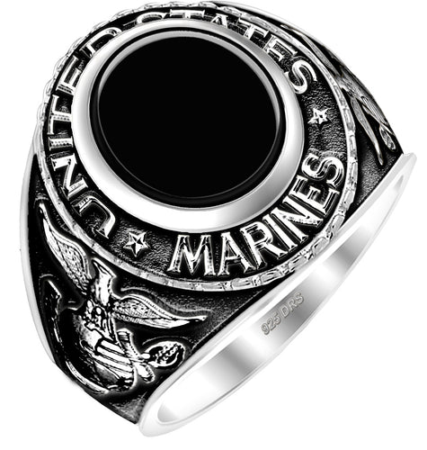 Men's Antiqued 0.925 Sterling Silver US Marine Corps Ring