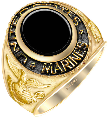 Men's 14k Yellow Gold US Marine Corps Ring - black stone