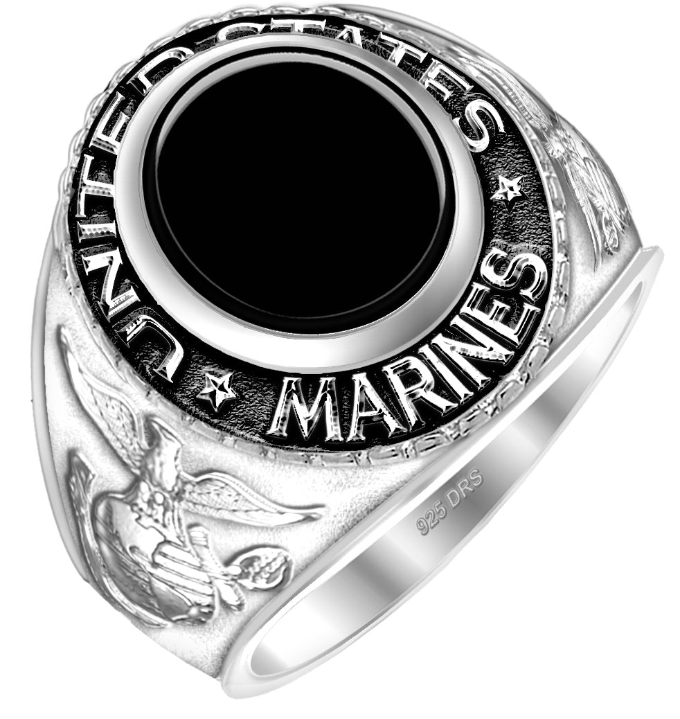 United States Marine Corps Ring Sterling Silver - Black Stone