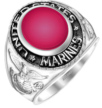 United States Marine Corps Ring Sterling Silver - Red Stone