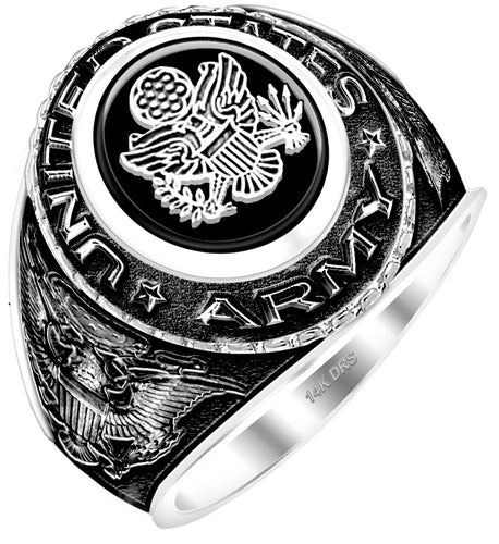 Customizable Men's Antiqued 14k White Gold US Army Ring