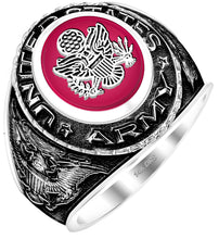 customizable men's antiqued US Army Military Ring with red stone