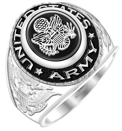 Men's US Army Military Ring simulated with black stone