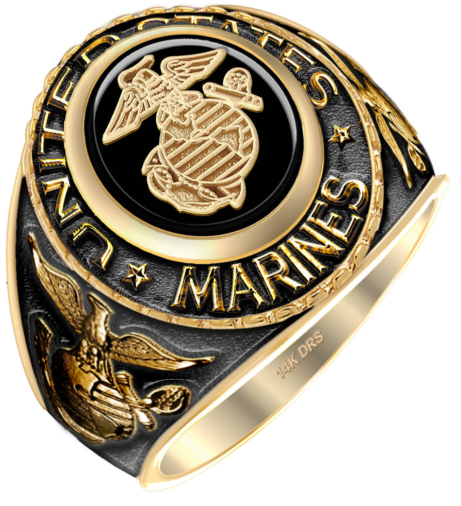 Men's Antiqued 14k Yellow Gold US Marine Corps Military Ring