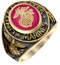 Red stone antique US Marine Corps Ring with emblem on top